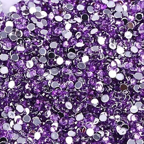Vente En Gros 500pcs Cristal Rhinestones Flatback Acrylique Perles Nail Art Violet