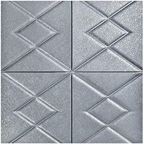 KUNYI Wandaufkleber Weißer Ziegel 3D Wandplatten Peel and Stick Tapete for Wohnzimmer Schlafzimmer Hintergrund Wanddekoration (Color : Gray, Size : 10 Pack)