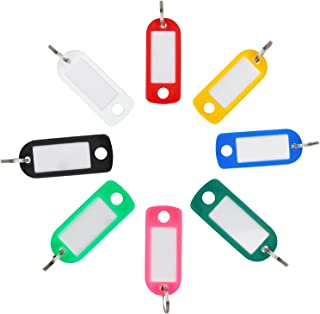 Uniclife Key Tags with Split Rings ID Label Window Assorted Colors, 48 Pack