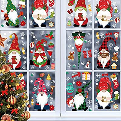 Emopeak Christmas Window Clings 8 Sheet - Christmas Window Stickers Decorations Decals for Home School Office Party Supplies - Double Printed