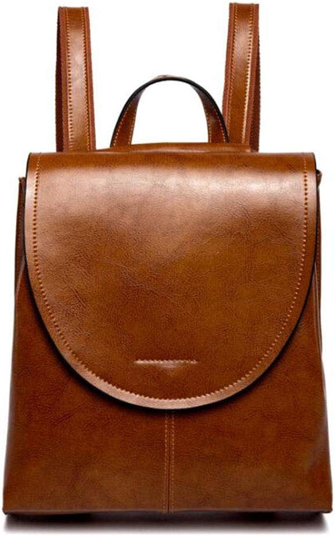 CMDDYY Leder Handtaschen Soft Face Retro College Ladies Rucksack Rucksack,Gelb