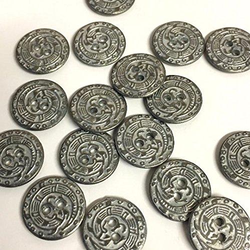 15mm zilveren metalen decoratieve blazer knopen met wapen detail