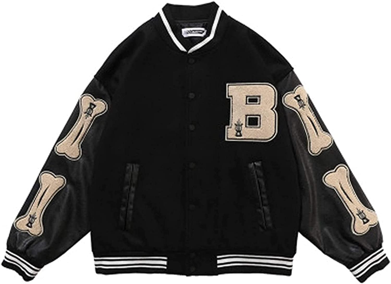 Men's Varsity College Jacket Baseball Jackets Hip Hop Jackets, Furry Bone Color Block Streetwear Patchwork Pattern, Men's Baseball Coats, Flight Bomber Jacket,Black,L