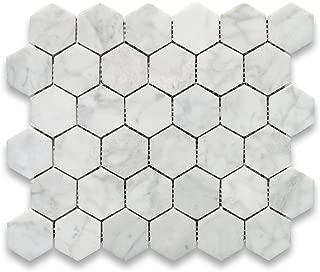 Stone Center Online Carrara White Italian Carrera Marble Hexagon Mosaic Tile 2 inch Polished Bianco Venato Marble