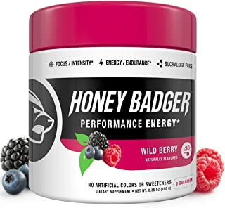 Honey Badger Vegan Keto Pre Workout | Wild Berry | Natural Paleo Sugar Free Plant-Based Energy Supplement Nootropics Amino Acids Nitric Oxide Sucralose Free + Non-Habit Forming | 30 Servings