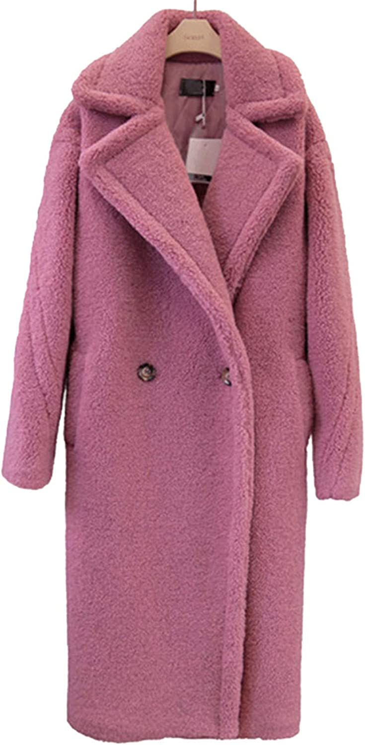 Snhpk Women Faux Fur Trench Coat Wool Cashmere Winter Teddy Jacket Thick Overcoat Outerwear,Pink,M