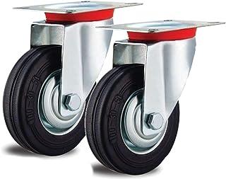 2 zwenkwielen 100 mm draaibaar stalen velg volledig rubber banden zwart draadbescherming 100 mm industriële rol