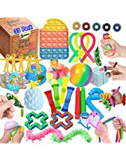 TimiCare 33 Pcs Sensory Fidget Toys Set, Stress Relief and Anti-Anxiety Tools Bundle for Kids and Adults, Pop it pop push Bubble ,pop tube, rainbow ball, Dimple Fidget & More