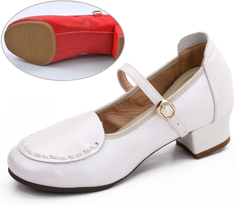 PENGFEI schuhe Damen Stiefeletten Tanzschuhe Herbst Mittlerer Absatz Atmungsaktiv Weicher Boden Frauen Schuhe 2 Farben 2 Arten Von Stilen (Farbe   Weiß 2 )
