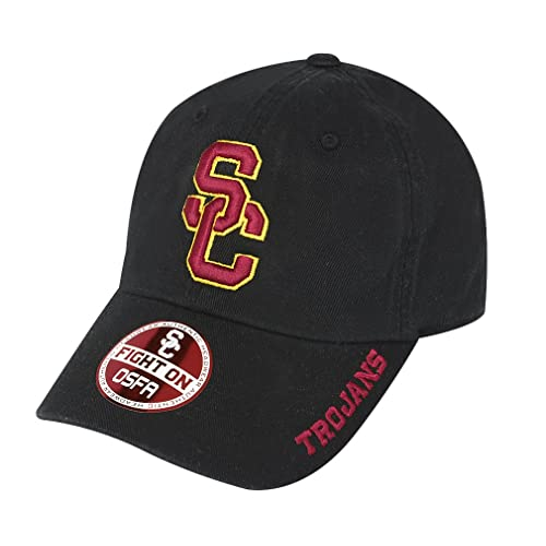 be60645d885b2 NCAA USC Trojans-Cotton Crew-Adult Adjustable Strapback-Hat Cap-Black-