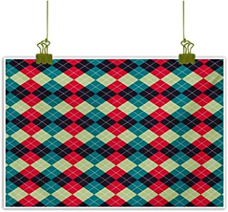 Homrkey Modern Frameless Painting Classical Argyle Diamond Line Pattern Vintage Traditional Colorful Retro Multicolor Decorative Painted Sofa Background Wall 24