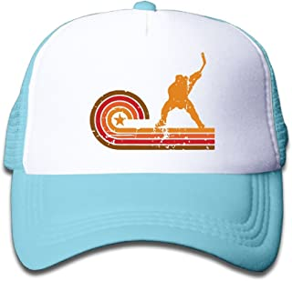 Kids Boys Girls Baseball Cap,Retro Style Slap Shot Silhouette Hockey Airmesh Cap Summer Trucker Hat