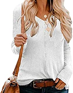 Womens Long Sleeve V Neck Henley Shirts Waffle Knit Casual Plain Pullover Jumpers