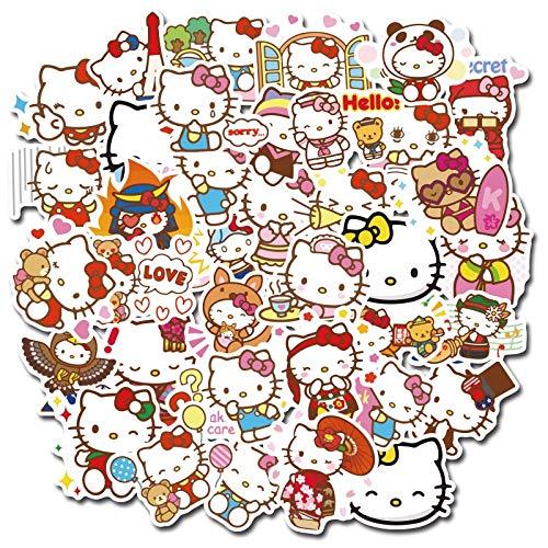 BLOUR 50/100 Uds Hello Kitty Graffiti Impermeable Pegatina de Dibujos Animados Kitty Juguete Pegatina Mixta Scooter Bicicleta teléfono móvil portátil Bolsa de Viaje