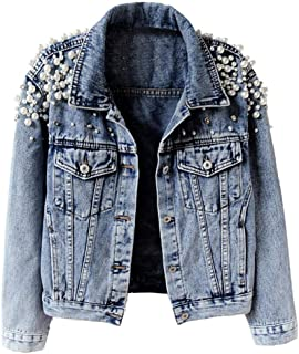 Kedera Women's Embroidered Rivet Pearl Short Denim Jacket Coat
