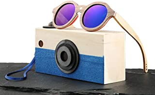 Kids Polarized Sunglasses Bamboo Frame Round Sunglasses with Bamboo Box, UV 400 Protection Ultra-Light Colorful Sunglasses for Children of 5-12,Blue
