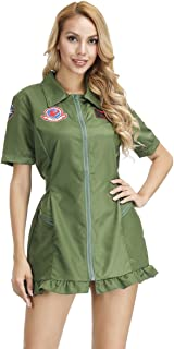 Women's Top Gun Costume Flight Suit Adult Aviator Jumpsuit Adults Military Pilot Halloween Costume Army Green
