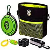 PERRAMA Dog Treat Bag, Training Pouch for Small and Large Dogs with Clicker and Collapsible Food Bowl BPA Free - Pet Treats Tote Bag with Waist and Shoulder Reflective Straps and Belt Clip (Black)