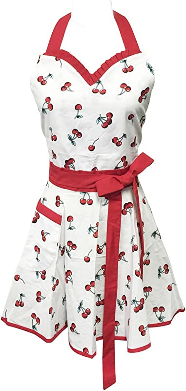 Wrapables Adjustable Flirty Hostess Apron Sweet Cherries