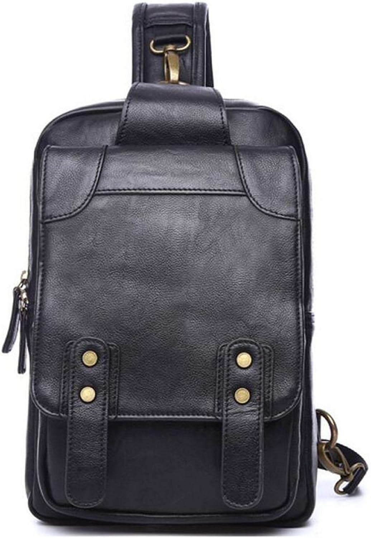PU Men's Backpack Retro Chest Bag Messenger Bag,Black-AreHorse