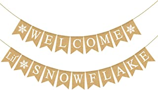 Rainlemon Jute Burlap Welcome Little Snowflake Banner Winter Christmas Baby Shower Diaper Party Baby Sprinkle Garland Decoration