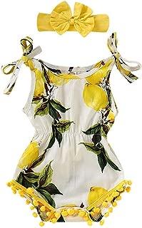 RAINED-Toddler Baby Girls Romper Suspender Lemon Shell Romper +Headbands Set Outfit Jumpsuit Bodysuit