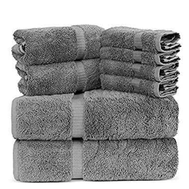 Luxury Spa and Hotel Quality Premium Turkish 8 Pieces Towel Set (2 x Bath Towels, 2 x Hand Towels, 4 x Wash Cloths, Gray)