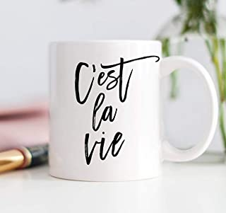 Cest La Vie Mug, C'est La Vie Gift, French Quote, Mugs with Quotes, Inhale Exhale, Positive Vibes Mug, Positive Coffee Mug, Zero Fox Given,Thanksgiving Day Gifts,Christmas Gift-11 oz