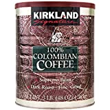 Kirkland Signature 100% Colombian Filter Coffee Supremo Bean Dark Roast Fine Grind 1.36kg