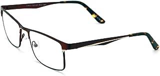 Men Rectangular Stainless Steel Non-prescription Glasses Frame Clear Lens Metal Eyeglasses - Wide Fitment