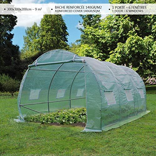 Serre de jardin | Tunnel serre de jardin | Serre de jardin tunnel 9m2 en acier galvanisé | Serre de jardin maraichère verte | Idéale pour faire pousser et protéger vos plantes en toutes saisons