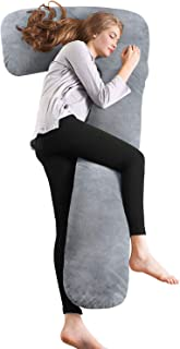 AngQi Full Body Pregnancy Pillow, Maternity Pillow for Pregnant Women and Side Sleepers, L Shaped Body Pillow with Removable Velvet Cover