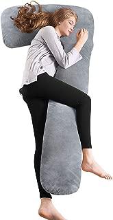 QUEEN ROSE Almohada de Embarazo con Funda de Plush, Almohada de Cuerpo Completo en Forma de L para Mujeres Embarazadas, Gris