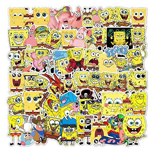 Spongebob Aufkleber Sticker Squarepant Anime Graffiti Wasserdicht Vinyl Graffiti Sticker für Kühlschrank Gepäck Gitarre Skateboard Laptop MacBook iPad Stücke für Kinder Erwachsene Geschenk 60Pcs
