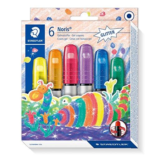 STAEDTLER Noris Club 2390M C6 Gelmalstifte, 6 Stück im Set, Glitter-Farben, perfekt für kleine Kinderhände, superweich und farbintensiv, auch ideal für `Fensterglas