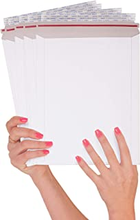ABC 25 Pack Rigid Paperboard mailers 9 x 11.5 Stay Flat Chipboard envelopes 9 11 1/2. White Photography Mailer. No Bend documents, Photo, Prints. Peel and Seal, Red Strip. Wholesale price