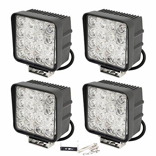 Slpro - 4x faros LED, 48W, 3800 lúmenes, para vehículos, jardín, taller,Negro/Aluminio