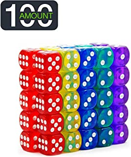 100-pack Translucent & Solid 6-Sided Game Dice 10 Sets of Vintage Colors 14mm Dice for Board Games and Teaching Math Dice Set Classroom Accessories dice Set RPG dice