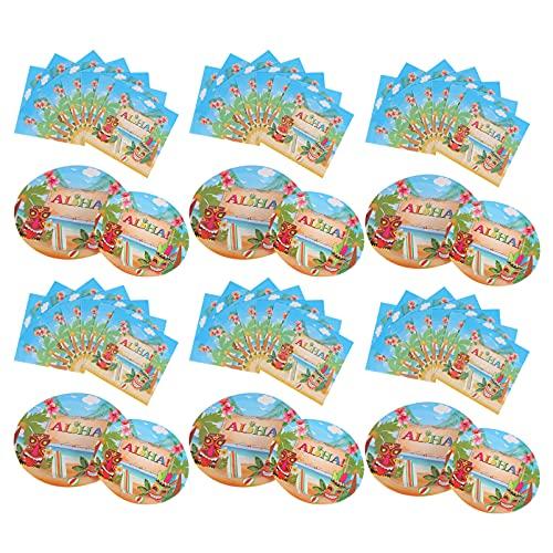 ifundom 40 Piezas 1 Set Hawaii Party Supplies Vajilla Set Cute Tropical Papel Plates Servilletas para Cumpleaños Verano Jungla Playa Luau Fiesta Decoraciones