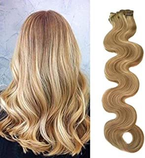 Valiilo Body Wave Wavy Blonde Balayage Clip in Hair Extensions Remy Human Hair 70grams 7pcs Soft Heat Resistant Beige Blonde with Bleach Blonde Highlights(18inch,18-613)