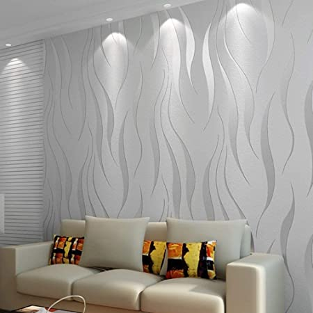 "International Wallpaper Modern Minimalist Non-Woven Water Plant Pattern 3D Flocking Embossed Wallpaper Roll, Silver and Grey, 0.53m(20.8"")*10m(32.8')=5.3㎡(57sqfeet),QZ0149"