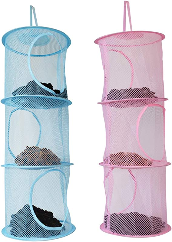 Bleiou 2 Pack Hanging Mesh Space Bags Organizer Toy Storage Bags With 3 Compartments For Kids Room Bathroom Wall Balcony Wardrobe