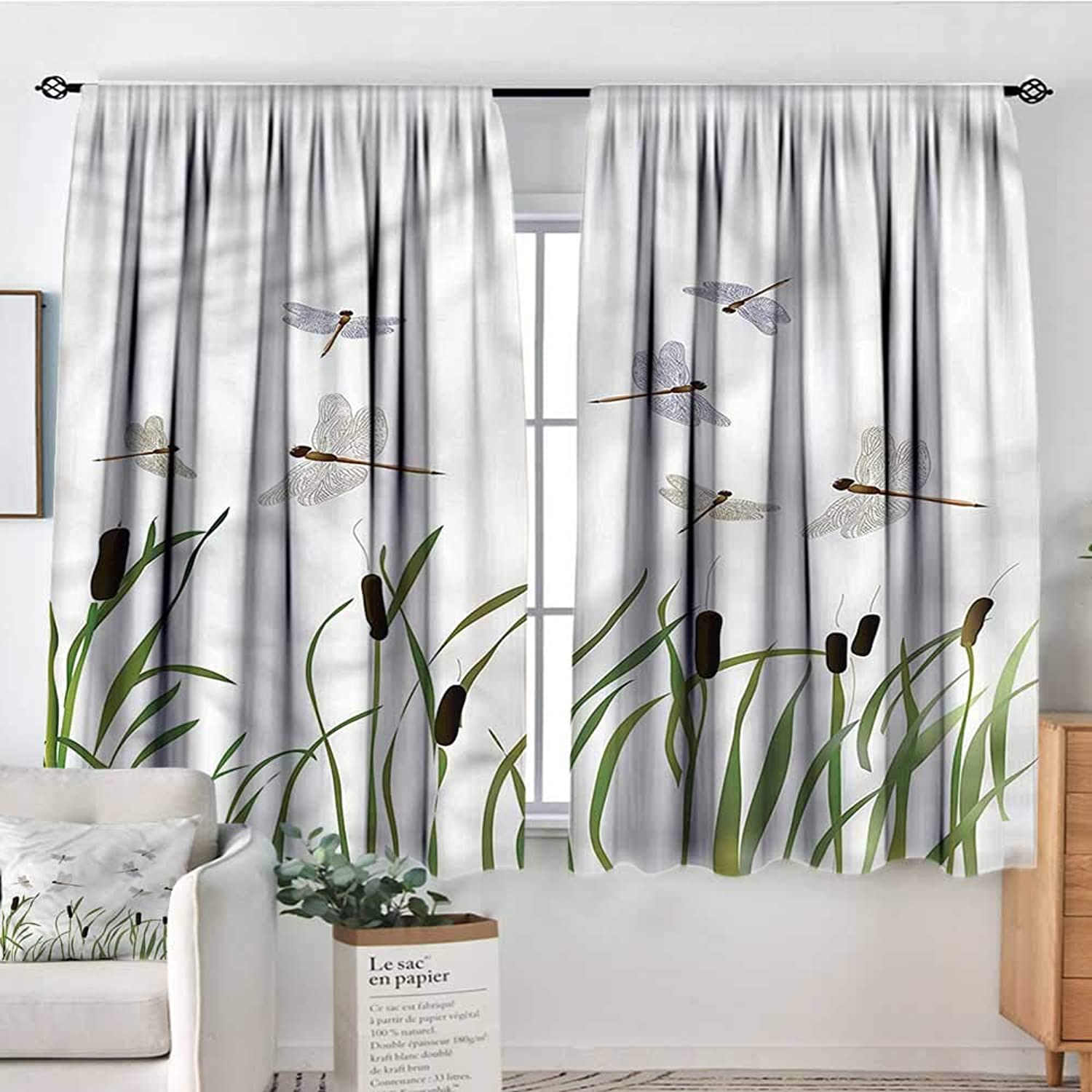 Dragonfly,Backout Curtain Set Tall Reeds Botanical Art 52 x63  Print Curtains for Toddes Iving Room