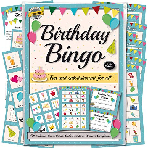 Birthday Party Bingo Game - For Adults & Children. Fun party accessory for groups of all ages, from young kids to the elderly. Friends and family will enjoy socialising with our lotto quiz set.