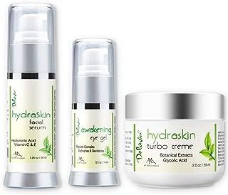Skin Care Set, Eye Gel, Facial Serum, Night Cream with Botanical Hyaluronic Acid, AHA, Vitamin C Serum, Organic Aloe Vera, Vitamin E and Essential Oils. HydraSkin Awakening System By Deluvia