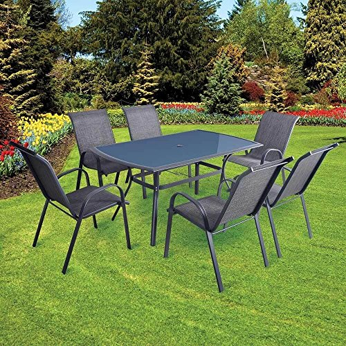 Lewis's Bali 7 Piece Garden Patio Furniture Set | Grey Aluminium Outdoor Tables And Chairs For Patios, Dining, BBQ's