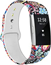 NAHAI Bands Compatible with Fitbit Charge 2, Soft Silicone Pattern Printed Bands Adjustable Sport Wristbands Strap Accessories for Fitbit Charge 2, Women Men, Large Small