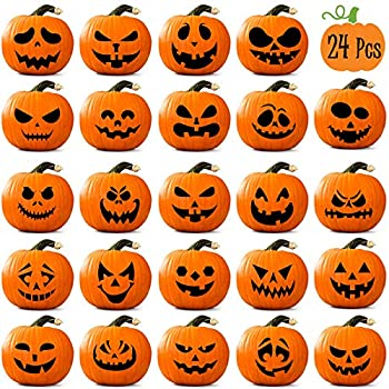 Whaline Halloween Pumpkin Stickers 24Pcs Black Pumpkin Face Stickers 28x35cm Classic Expression Decals for Pumpkins and Squashes Make Your Own Jack-O-Lantern Face Decals for Halloween Party Decoration