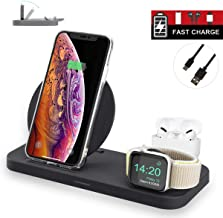 Seltureone Folding 3 in 1 Wireless Charger Station for iWatch Series 5/4/3/2/1, Qi Fast Wireless Charging Stand Compatible iPhone 11/11 Pro/X/XR/XS, Charger for AirPods pro/1/2 (Updated 2020 Version)
