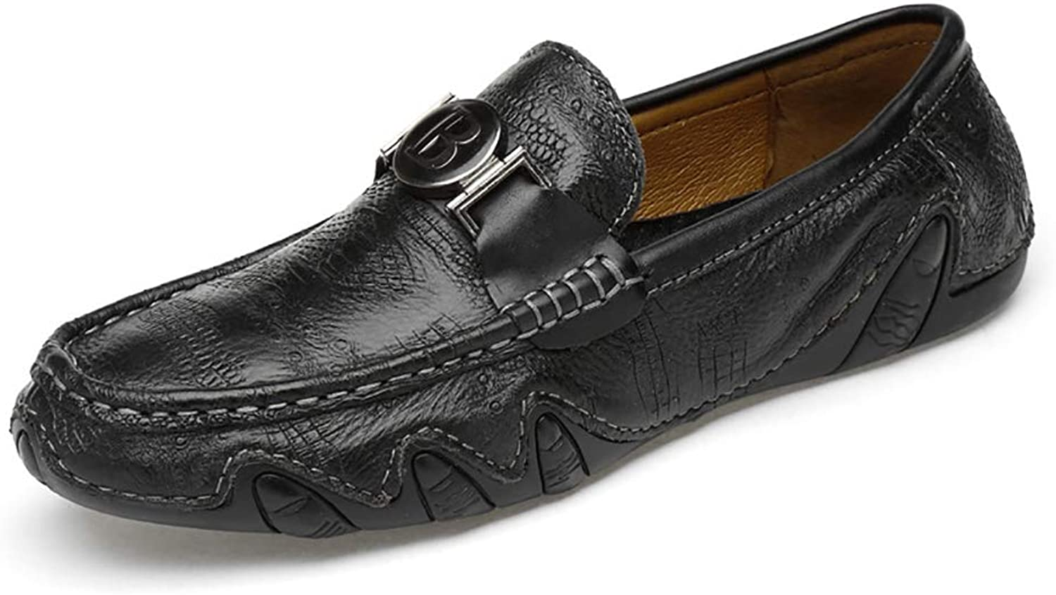Men's Casual Loafers Flat Leather Fashion Slip On Driving shoes Moccasin Handmade Comfort Fashion Slipper,Black,41